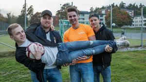 Lallare FC från Södertälje – Philip Rosenlund, Marcus Bergqvist, Jacob Åberg och liggande Tobias Berglund.