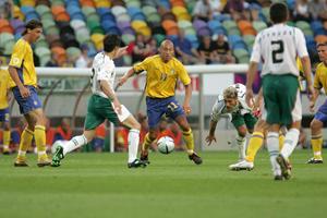Henrik Larsson under EM-matchen mot Bulgarien 2004. Foto: Fredrik Sandberg