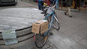 Cykeln stod i fokus under klimatstrejken på fredagen.