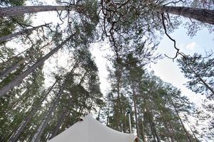 En hängmatta utanför tältet bjuder på denna utsikt.