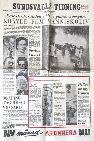 Sundsvalls Tidning den 29 januari 1969. Branden krävde fem dödsoffer, bland annat en 3,5 år gammal flicka.