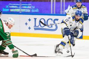 Marek Hrivik och Leksand vände och vann mot Rögle, mycket tack vare Hriviks straffmål i tredje perioden. Foto: Daniel Eriksson/Bildbyrån