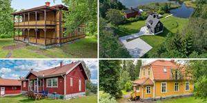 Ett montage med några av de hus som finns med på Klicktoppen för vecka 34, sett till de hus i Dalarna som fått flest klick på bostadssajten Hemnet under förra veckan.