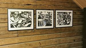 Mårten Tollin laddar vardagliga motiv med spänning genom sin serietidningsestetik, här i svartvitt.