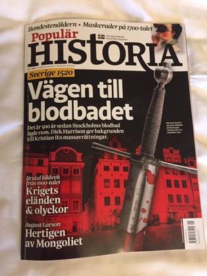 Senaste numret (nummer 1 2020) av Populär Historia - Sveriges ledande historiska magasin  - som de själva marknadsför sig som.