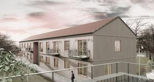 Tvåvåningshus med träfasad ska byggas i Hölö, på fastigheten Gammelgården 1. Illustration: Hultsfredshus och Tengbom