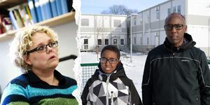 Mohamed Osman (till höger) är besviken på skolan för att sonen inte har fått rätt hjälp förrän nu. Skolchef Ulrika Forssell har diskuterat ärendet med pappan och skolans rektor.