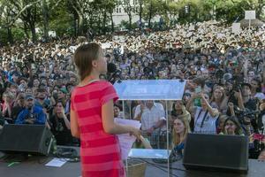 Greta Thunberg under klimatstrejken i New York den 20 september.