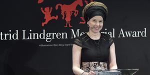 Kulturminister Amanda Lind (MP) talar när årets mottagare av Astrid Lindgren Memorial Award, Alma-priset, tillkännagavs. Nu kommer hon till Nynäshamn. Foto: Jessica Gow / TT