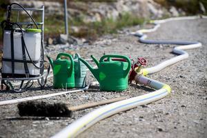 Många kilometer brandslang har lagts ut i en område runt branden. Ett mödosamt jobb i värmen.