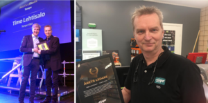 Timo Lehtisalo, ägare till Tempobutiken på Vätö, har fått pris som Årets Ledare.