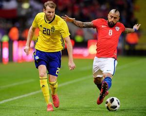 Ola Toivonen kvitterade till 1–1 mot Chile. Anders Wiklund/TT.