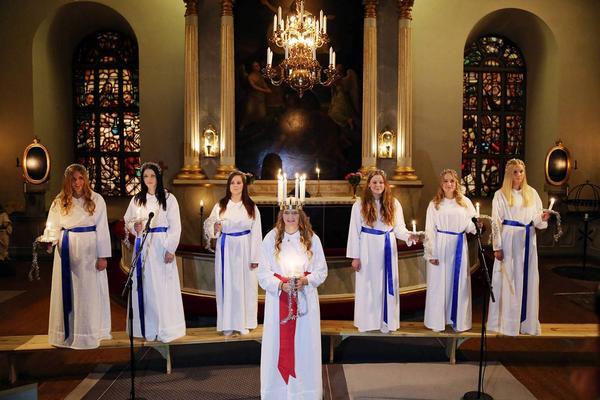 Från kröningen 2014 i Svegs kyrka då Ida Arnesson kröntes till Härjedalens lucia.
