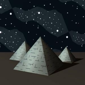"""PYRAMIDEN. Egyptens underverk används som metafor för vårt digitala samhälle i den märkliga skriften """"Framtiden""""."""