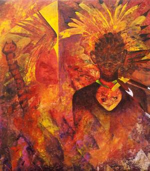Varma färger samt pyramider och indianer går igenom flera av verken.