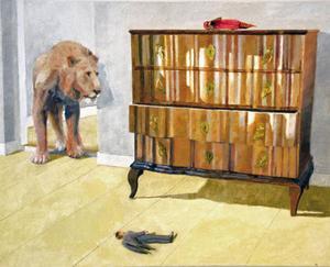 """""""Kort biografi med litet testamente"""" är en tydlig parafras på Magrittes måleri, ingår  i Anna Kristensens spännande bildsviter på Galleri Remi."""