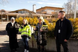 Nimo Ahmed, bosocial språkstödjare, Maria Mårds, byggprojektledare, Ann-Cathrin Brovall, kommunikatör och Christoffer Ahlenius, studentkoordinator, presenterade under måndagen den kommande ombyggnationen av parkeringen vid Locus.