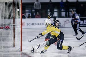 Dammbro gör mål mot Kalix i matchen på Hällåsen förra säsongen.