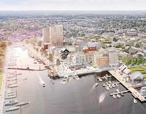 Norrtälje hamn – visionsbild för framtiden. Illustration: Norrtälje kommun/Sydväst arkitektur och landskap