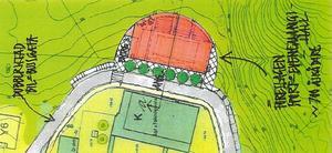 I skogssluttningen högst upp i Sidsjö-området planeras den stora multihallen med plats för 600–700 åskådare.
