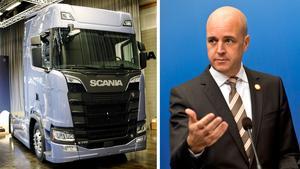 Nya Scanialastbilen och Fredrik Reinfeldt.