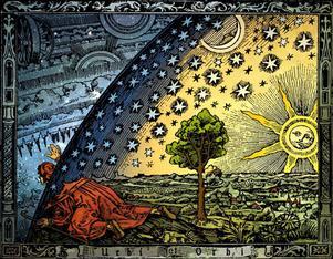 Universum - Camille Flammarions träsnitt från 1888, som framställer en medeltida uppfattning om en platt jord. Färglagt av Hugo Heikenwaelder, Wien 1998.