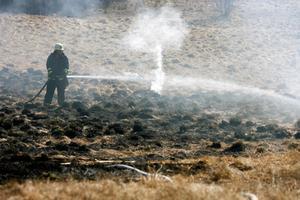 Gräsbranden intill gamla Rödövägen i Krokvåg var en av många gräsbränder i länet i helgen. Länsborna avråds nu från att leda.