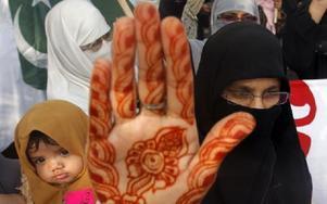 Kvinnor som stödjer det pakistanska, religiösa partiet Jamaat-el Islami svär att fortsätta bära slöja. Foto: Shakil Adil, AP, Scanpix
