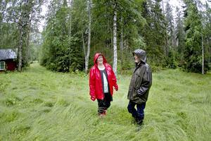 Birgit och Seppo Karvonen på ängarna där kossorna betade en gång för länge sedan.