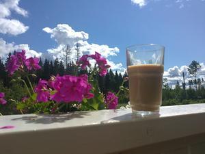 Frukost i hängmattan, kaffeglaset på altanräcket.