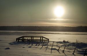 Bilden är tagen en väldigt kall dag i slutet på December. Jag var ute gick på en grusväg i Fläckebo när jag såg bron i motljuset och tyckte det var ett perfekt motiv.