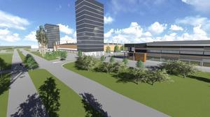 På den här skissen syns multisporthallen i förgrunden och därefter fotbollsarenan längs med Idrottsvägen. Bakom fotbollsarenan ligger Läkerol Arena.