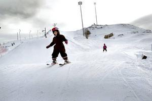 Systrar med slalomskidor. Daniela och Matilda Ljungbeck, sex och fyra år, har båda åkt utför i ungefär i ett och ett halvt år. I går åkte de mest i snow parken.