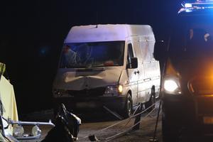 I olyckan var även en minibuss inblandad. Foto: Christian Hermansson, utryckning Uppsala