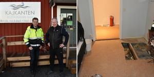 Fastighetsansvarige Rune Häreskog från Örnsköldsviks hamn och logistik och Kajkantens ägare Håkan Jacobsson var lättade efter branden.