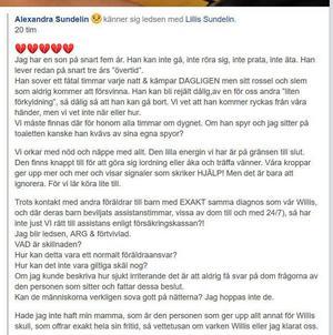 Så skrev Alexandra Sundelin efter beskedet att sonen fortfarande inte får assistansersättning genom Försäkringskassan. FB-inlägget är delat 1 900 gånger.