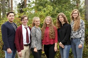 Borlänges stipendiater (från vänster till höger): Tom Källgren, David Stevens, Ella Grundin, Lovisa Ullgren, Rebecka Homman och Karolina Hedberg.