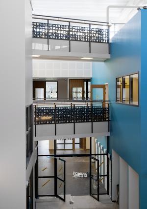 Den nya Brunnsängskolan sammankopplas med flera spångar som går över de öppna ytorna.
