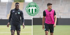 Oke Akpoveta och Claus Royo provtränar med VSK Fotboll den här veckan.