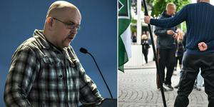 Pär Öberg, NMR:s presstalesman, åtalas vid Stockholms tingsrätt misstänkt för hets mot folkgupp. Foto: Lars Dafgård, Vilhelm Stokstad
