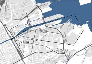 Ett tänkt scenario år 2040. En extra bilbro mellan Gävle Strand och Brynäs, och två kopplingar mellan Näringen och Alderholmen hjälps åt att avlasta Fältskärsleden. Illustration: Gävle kommun