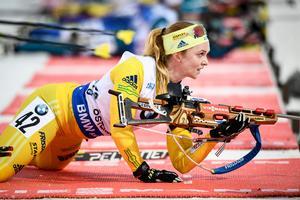 Mona Brorsson blev bästa svenskan i damernas jaktstart under lördagen. Bild: TT