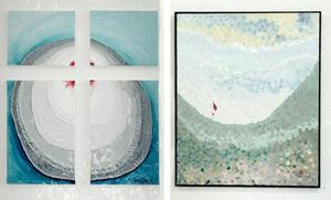 Två av Lasse Sarris många tavlor han målat genom åren. Bild: Thord Ehnberg