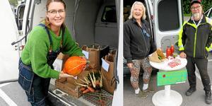 Kajsa Engvall från Valbo och Janne och Stina Bohlin säljer grönsaker via Reko-ring Gävle.