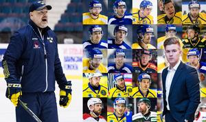 25 spelare, varav tre målvakter, ska Rikard Grönborg välja till OS. Här är Adam Johanssons trupp till Sydkorea. Foton: Bildbyrån.