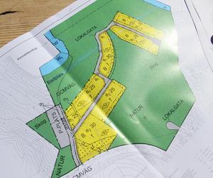 Bostäderna som planeras i Uvbergsviken är markerade med gult på kartan.Planskiss: Borlänge kommun