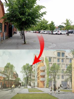 På parkeringsplatsen mellan Varmvalsvägen och Kopparlundsvägen  planeras bostäder.  Under jord blir det ett nytt garage. Foto: Britt-Louise Bergström/Archus Arkitektur