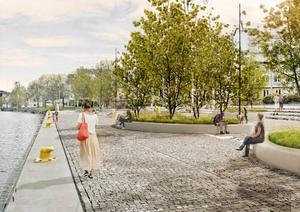 Vid kajen utanför Astras gamla huvudkontor, som skymtar i bakgrunden, vill man skapa en offentlig plats med planteringar och sittplatser där folk vill stanna till. Kommunen vill förlänga det kanalstråk som Sjöfartsverket ska anlägga efter Mälarprojektet så det fortsätter ända hit.Skiss: Nivå landskapsarkitektur