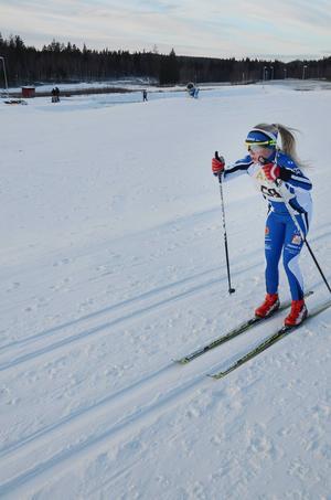 Agnes Vestrin, Trönö IK, kämpade sig till en fjärdeplats i klassen D11-12.