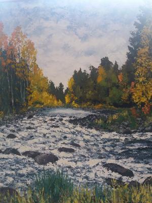 Dalälvshöst vid Gabrielforsen – vildmarksområde mellan Mehedeby – Söderfors, en av Roger Larssons beundrade tavlor.